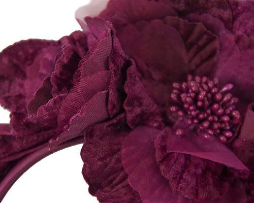 Fascinators Online - Burgundy flowers on the headband 3