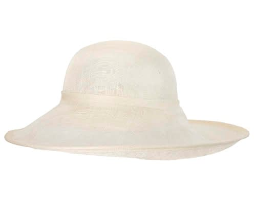 Fascinators Online - Large cream fashion hat by Max Alexander 3