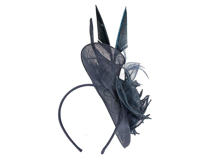 Fascinators Online - Navy racing fascinator with feathers by Max Alexander 4