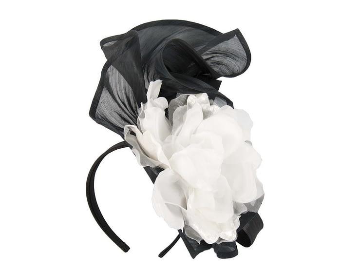 Fascinators Online - Tall black & white silk abaca racing fascinator 2