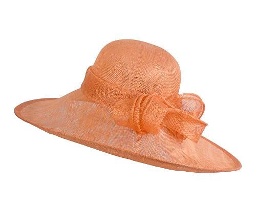 Fascinators Online - Wide brim orange sinamay racing hat by Max Alexander 2