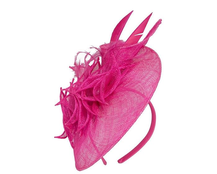 Fascinators Online - Fuchsia racing fascinator with feathers by Max Alexander 2