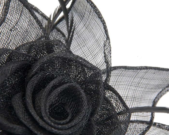 Fascinators Online - Large black sinamay racing fascinators 3