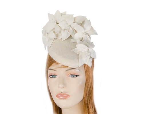 Fascinators Online - Cream leather flower pillbox fascinator by Fillies Collection 1