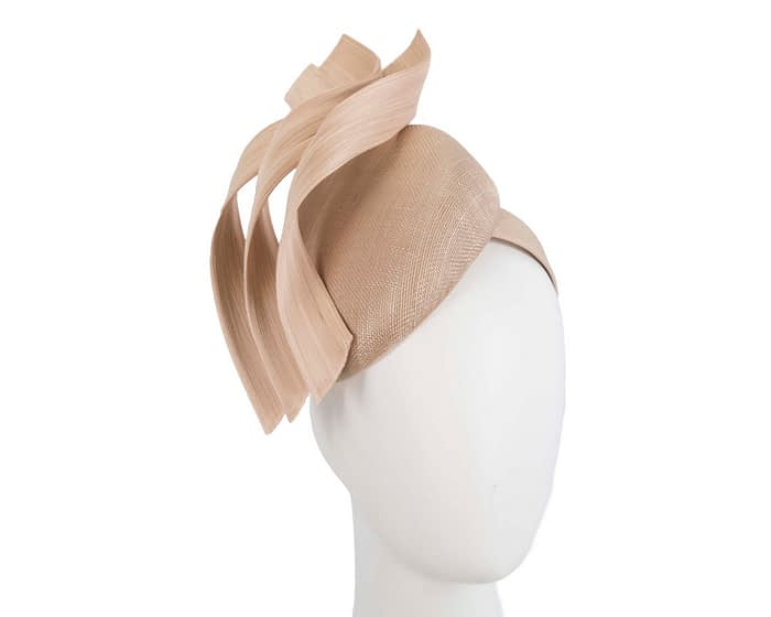 Fascinators Online - Nude pillbox racing fascinator with jinsin trim by Fillies Collection 1