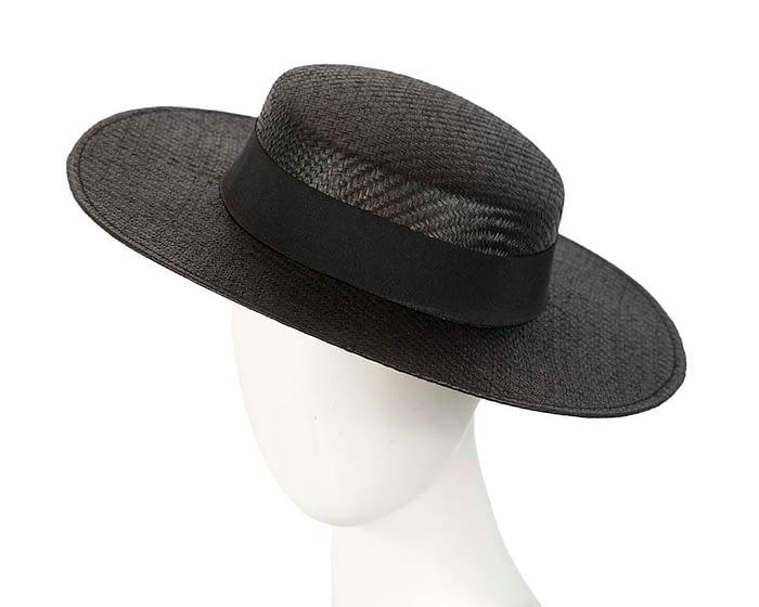 Fascinators Online - Black boater hat by Max Alexander 1