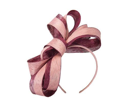Fascinators Online - Wine & pink loops of sinamay racing fascinator by Max Alexander 2