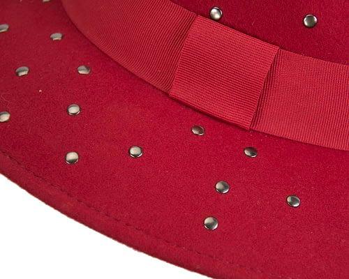 Fascinators Online - Wide brim red felt fedora hat by Max Alexander 4