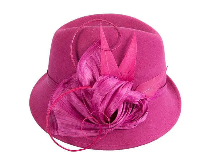Fascinators Online - Exclusive fuchsia felt trilby hat by Fillies Collection 3