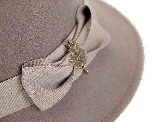 Fascinators Online - Grey ladies felt bucket hat 5