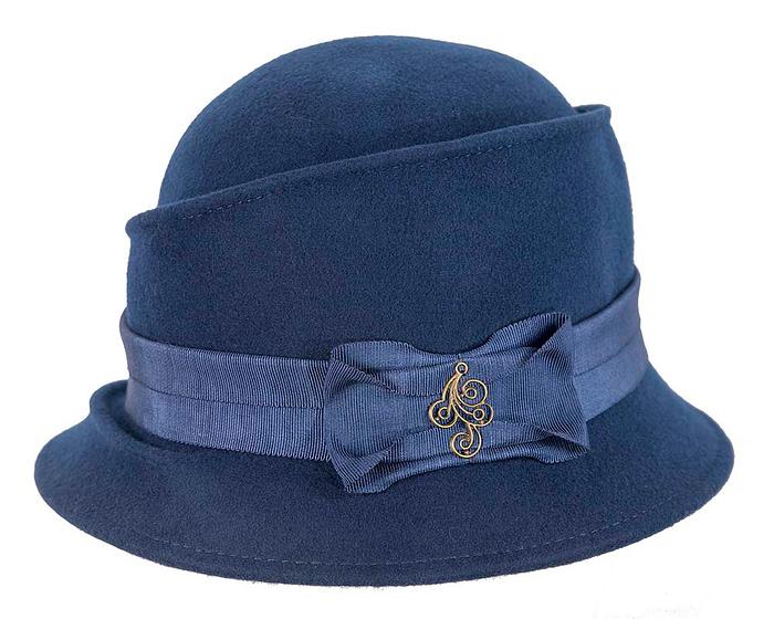 Fascinators Online - Navy ladies felt bucket hat 3