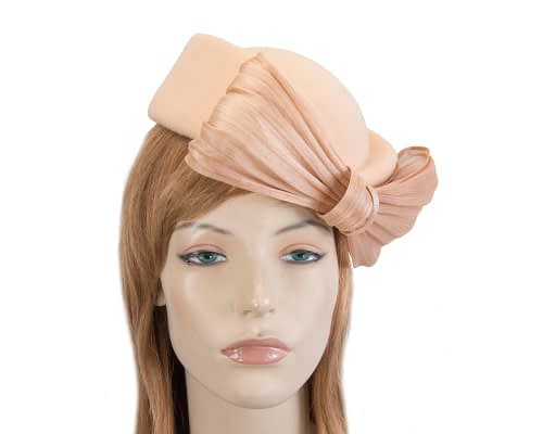 Fascinators Online - Beige felt ladies fashion beret hat with bow by Fillies Collection 2
