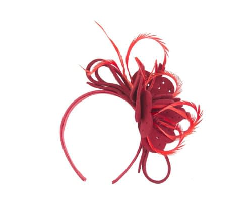 Fascinators Online - Red felt flower and feathers winter fascinator 2