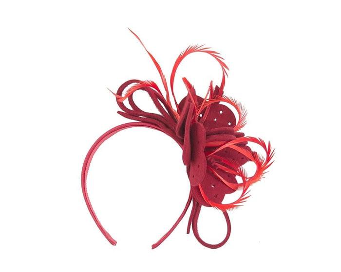Fascinators Online - Red felt flower and feathers winter fascinator 2