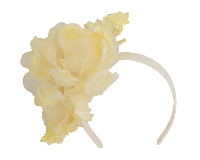 Fascinators Online - Light Yellow Silk Flower Fascinator by Fillies Collection 2