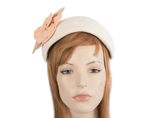 Fascinators Online - Wide headband cream winter fascinator with nude flower by Max Alexander 73