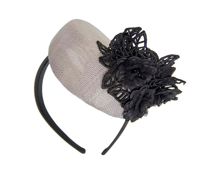Fascinators Online - Silver pillbox with black lace by Fillies Collection 6