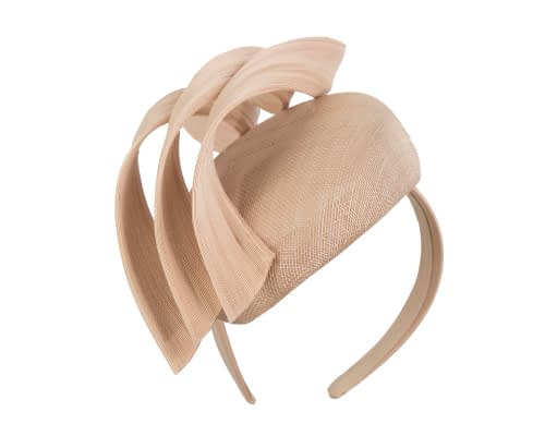 Fascinators Online - Nude pillbox racing fascinator with jinsin trim by Fillies Collection 2