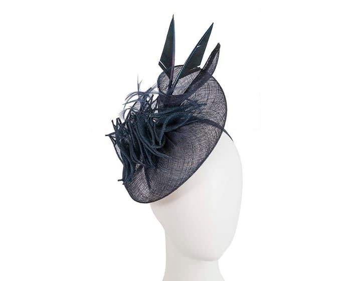 Fascinators Online - Navy racing fascinator with feathers by Max Alexander 1