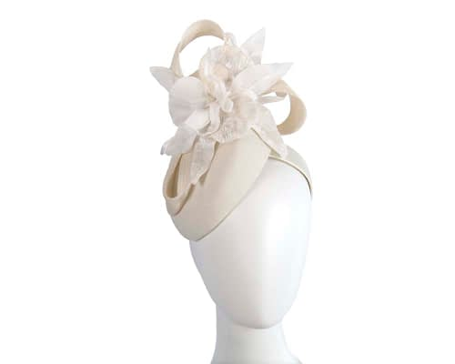 Fascinators Online - Tall cream felt pillbox with flower by Fillies Collection 1