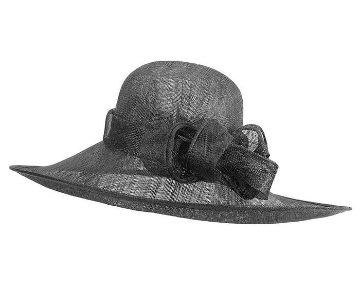 Fascinators Online - Wide brim black sinamay racing hat by Max Alexander 2