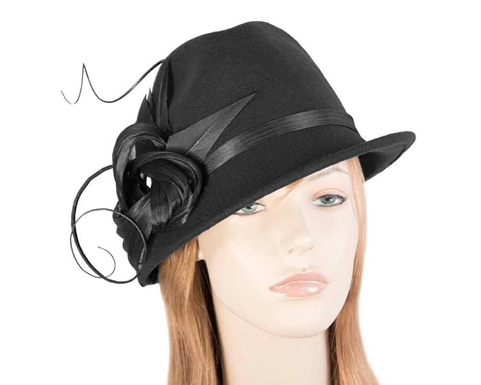 Fascinators Online - Exclusive black felt trilby hat by Fillies Collection 1