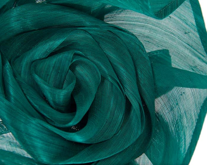 Fascinators Online - Teal sculptured silk abaca fascinator by Fillies Collection 3