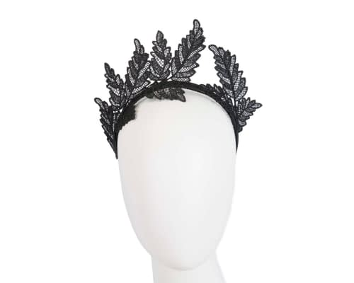 Fascinators Online - Black lace crown racing fascinator by Max Alexander 1