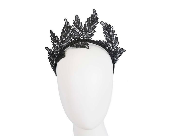 Fascinators Online - Black lace crown racing fascinator by Max Alexander 1