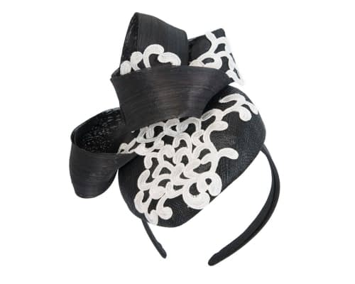 Fascinators Online - Black pillbox fascinator with white lace by Fillies Collection 2