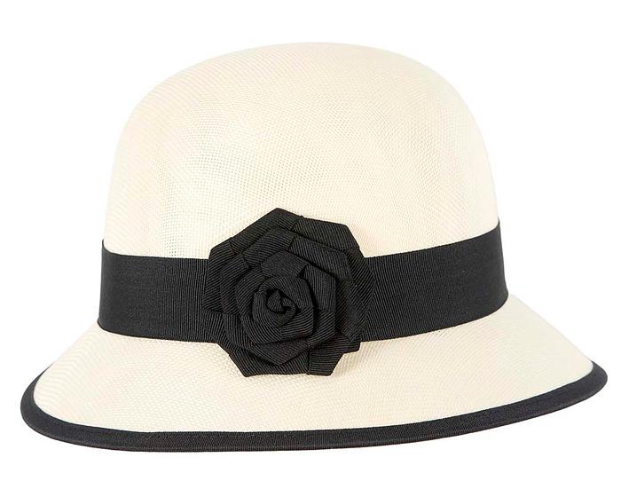 Fascinators Online - Cream and Black spring racing bucket hat by Max Alexander 3