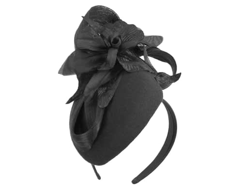 Fascinators Online - Tall black felt pillbox with flower by Fillies Collection 2