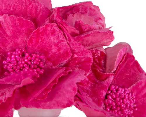 Fascinators Online - Bright fuchsia flowers on the headband 3