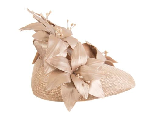 Fascinators Online - Gold leather flower pillbox fascinator by Fillies Collection 5