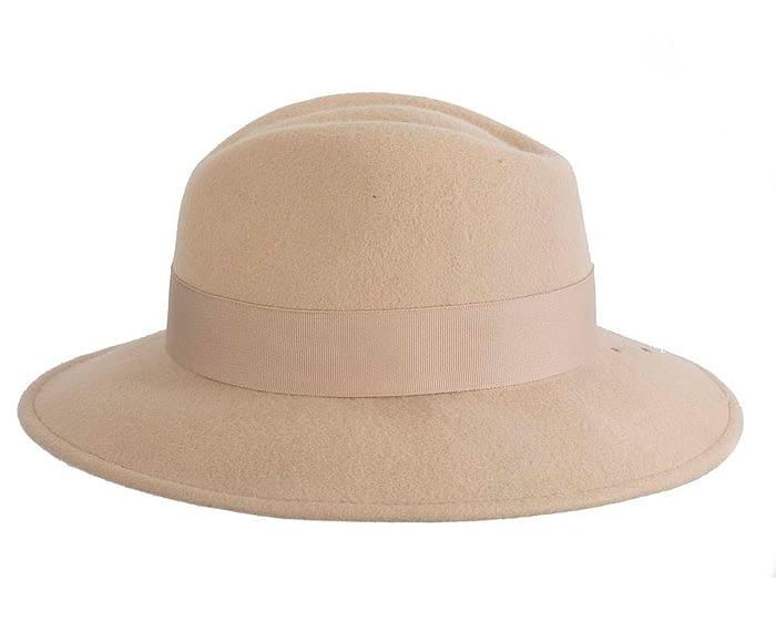 Fascinators Online - Wide brim beige felt fedora hat by Max Alexander 3