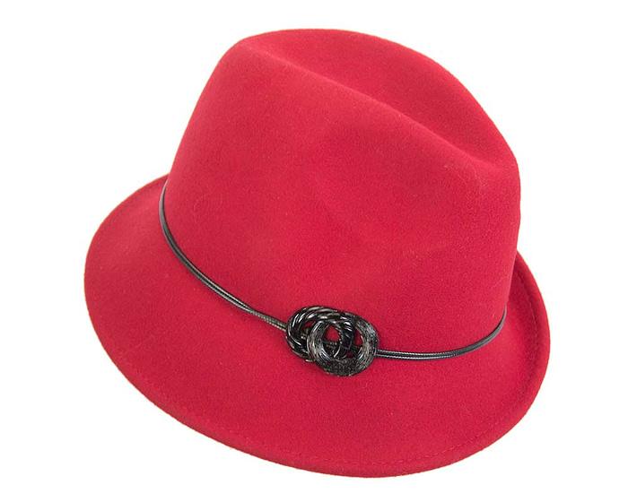 Fascinators Online - Red felt trilby hat by Max Alexander 2