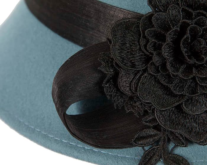 Fascinators Online - Exclusive blue felt cloche hat with lace by Fillies Collection 5