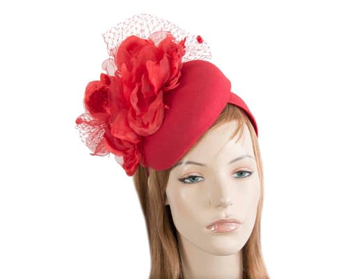 Fascinators Online - Red pillbox fascinator with flower by Fillies Collection 108