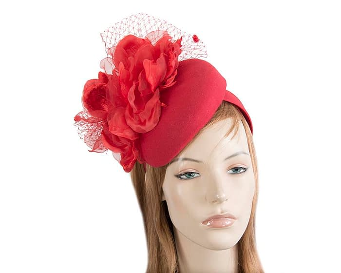 Fascinators Online - Red pillbox fascinator with flower by Fillies Collection 1