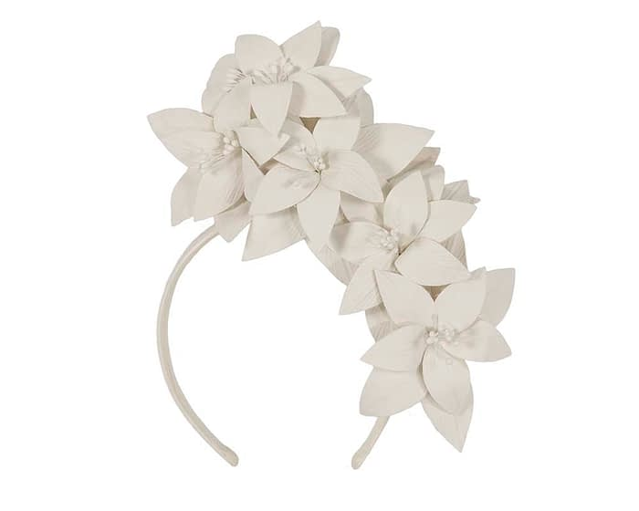 Fascinators Online - Cream leather flower headband by Fillies Collection 2