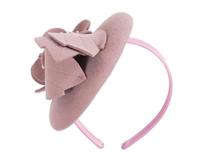 Fascinators Online - Dusty pink felt winter pillbox fascinator by Max Alexander 3