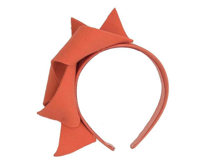 Fascinators Online - Burnt orange felt twisted fascinator by Max Alexander 2
