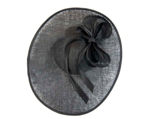 Fascinators Online - Large black fascinator hat with bow 3