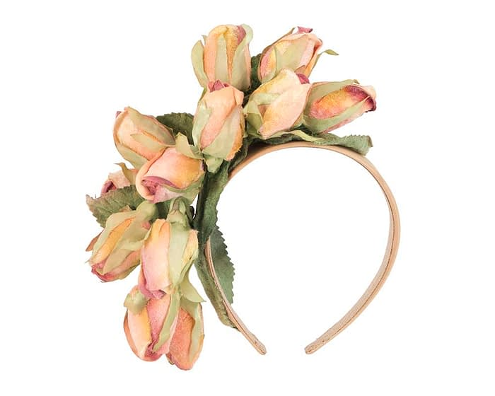 Fascinators Online - Multi-color peach roses flower headband by Max Alexander 2
