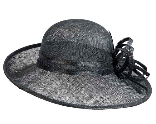 Fascinators Online - Black ladies sinamay racing hat by Max Alexander 6