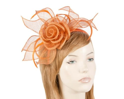 Fascinators Online - Large orange sinamay racing fascinators 3