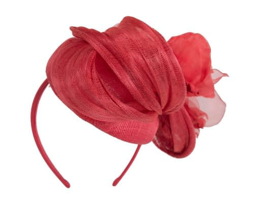 Fascinators Online - Red pillbox fascinator with large flower by Fillies Collection 6