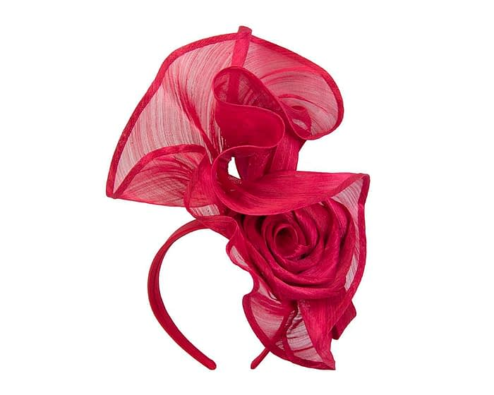 Fascinators Online - Red sculptured silk abaca fascinator by Fillies Collection 2
