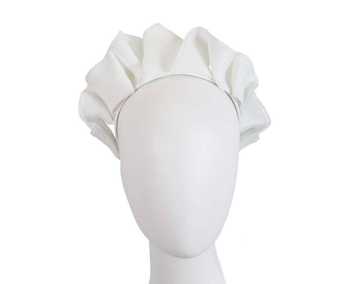 Fascinators Online - White PU leather crown fascinator by Max Alexander 1