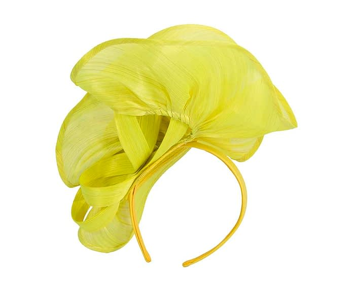 Fascinators Online - Yellow sculptured silk abaca fascinator by Fillies Collection 4